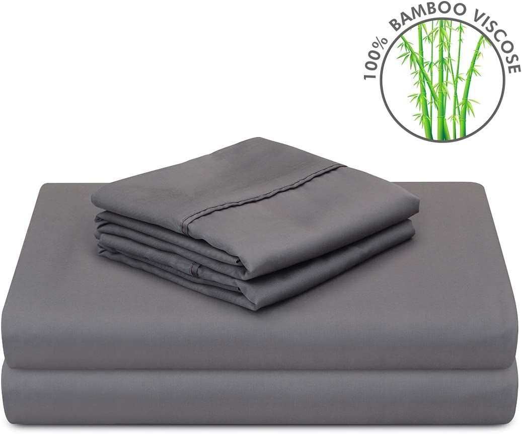 PANDATEX Super Soft 100% Bamboo Sheets Set 4 Pieces Cool & Breathable Fits up to 16 inches Mattress, Natural Organic Eco Friendly Resists Wrinkle Bed Sheets Set - Queen Size, Dark Grey