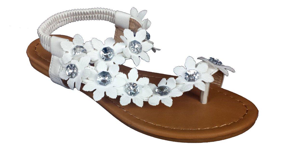 Elegant Women's Fashion White Hawaiian Flowers Gladiator Flat Sandals White 6 , M US