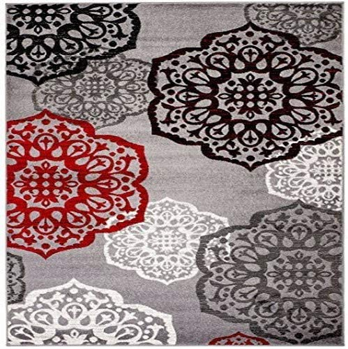 New Summit Elite S 53 Moroccan Madallions Gray White Black Red Modern Abstract Area Rug 5×7 Actual Size is 4'.10'' x 7'.2''