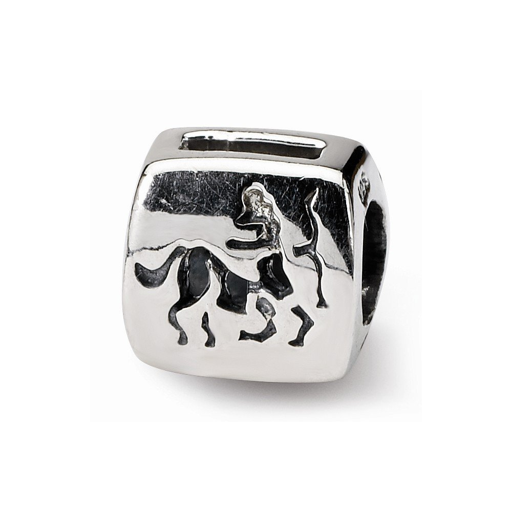 Sterling Silver Reflections Sagittarius Zodiac Antiqued Bead