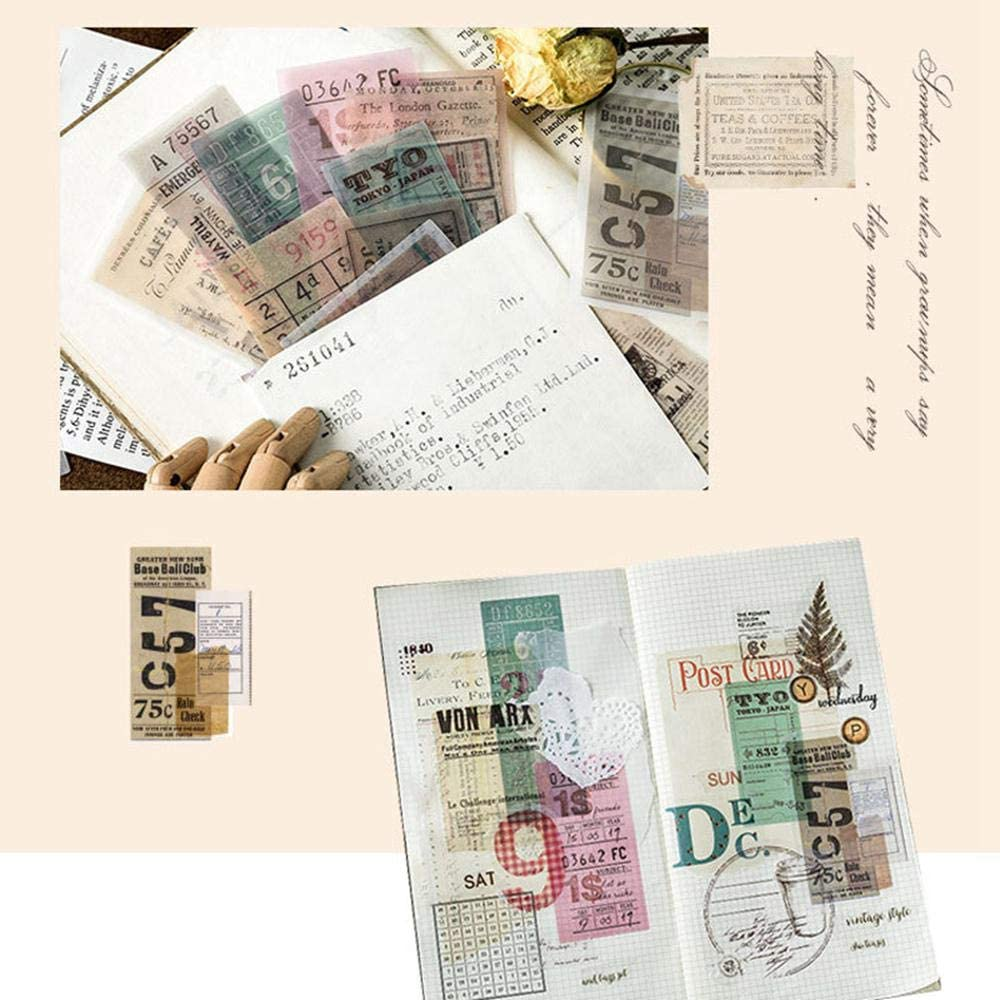 Card Making Notebook Yeldou Ephemera Pack,50 Pcs Vintage Expedition Ephemera Pack,DIY Decorative Note Stickers Assorted Colors Card Stock Scrapbook Accessories for Scrapbook