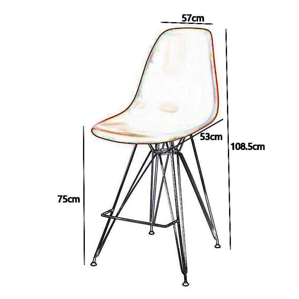 MuMa STOOL barstol järnkonst plast högt ryggstöd nordisk högpall kafé/skrivbord – 57 x 53 x 75 cm gUL svart