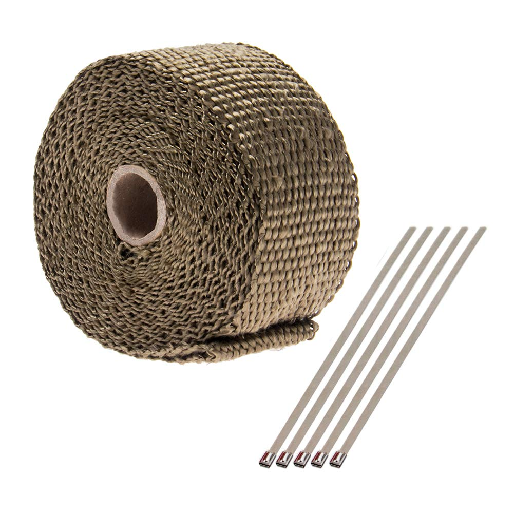 BIG AUTOPARTS 2 inch by 16.5 feet Manifold Exhaust Wrap Manifold Heat Exhaust Thermal Wrap Tape & Stainless Ties Kit, Black Big-Autoparts