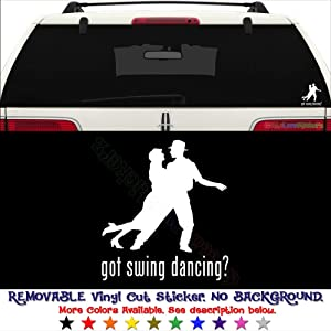 GottaLoveStickerz Got Swing Dancing Dance Permanent Vinyl Decal Sticker for Laptop Tablet Helmet Windows Wall Decor Car Truck Motorcycle - Size (07 Inch / 18 cm Tall) - Color (Gloss White)