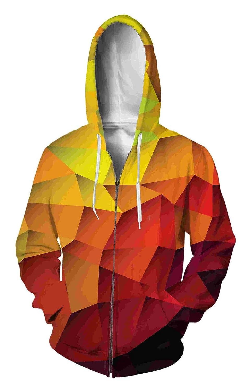 Ai Ya-weiyi 2018 Zip-Up Hoodie 3D-Ling Raster Bekleidung Damen Herren Tops Hooded Zipper Hoodie Lässige Outfits Mäntel