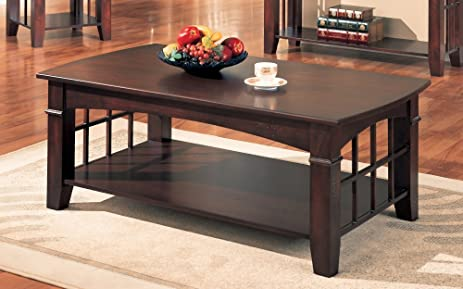 Charming Coaster Antique Country Style Coffee Table, Cherry Finish