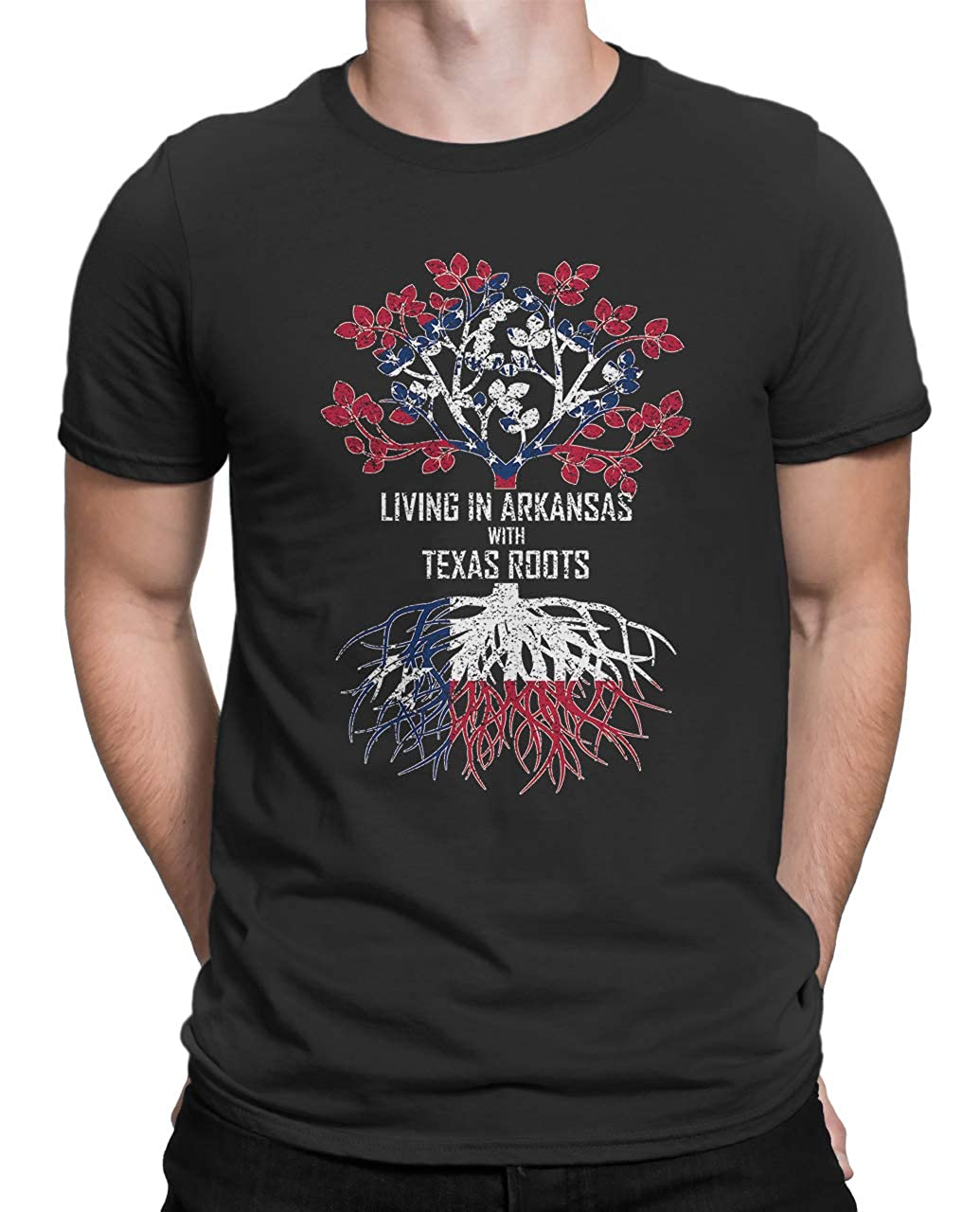 Tenacitee Mens Living in Arkansas Texas Roots T-Shirt