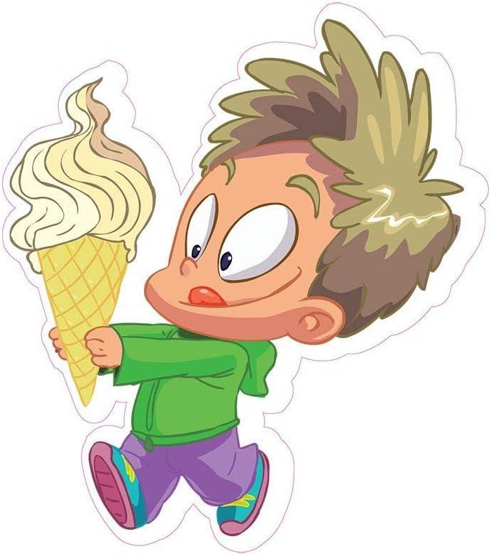 Boy with Ice Cream Concession Decal Sign Restaurant Dessert Station Food Truck Vinyl Sticker 10 inches