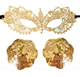Bling Charm Nipple Cover & Lace Mask Sequin Gold Star Breast Pasties Special Gift (Sequins1)