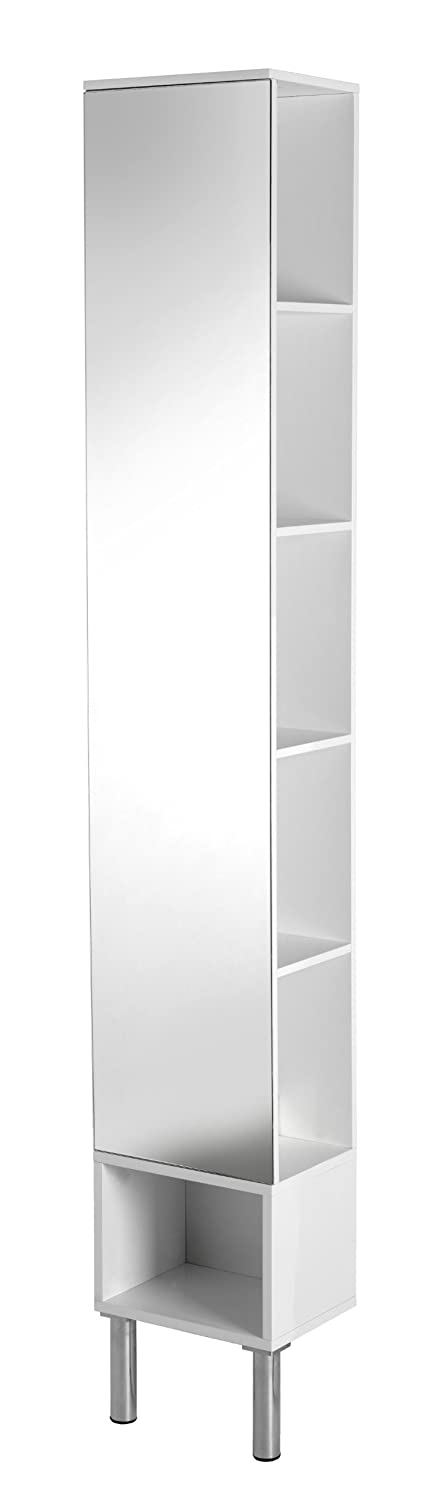 Croydex Irwell Open Sided Tall Boy with Mirror, High Gloss White WC871022