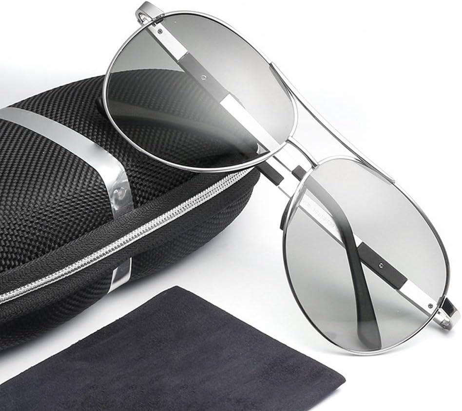 Occhiali Occhiali Uomo Induzione polarizzata di Occhiali da Sole da Guida Che cambiano Colore alla Luce del Sole (Color : 01Gray) 02gray