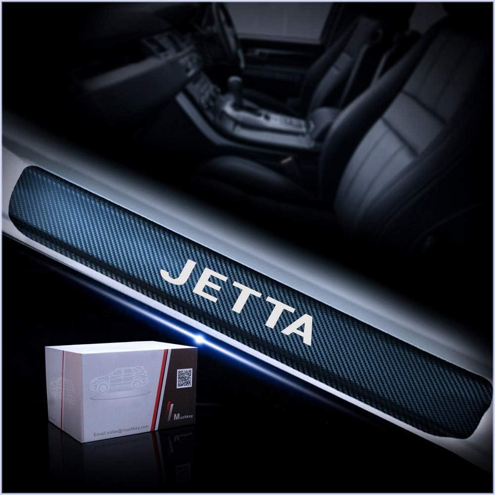 for VW Jetta Door Sill Protector Reflective 4D Carbon Fiber Sticker Door Entry Guard Door Sill Scuff Plate Stickers Auto Accessories 4Pcs Blue