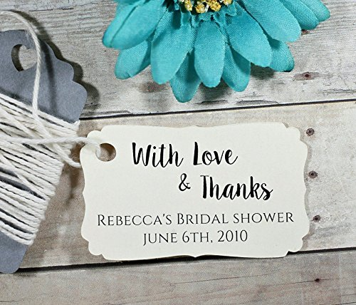 Personalized Cream Bridal Shower Favor Tags - With Love & Thanks Gift Tags (Set of - Personalized Shower Bridal Tags