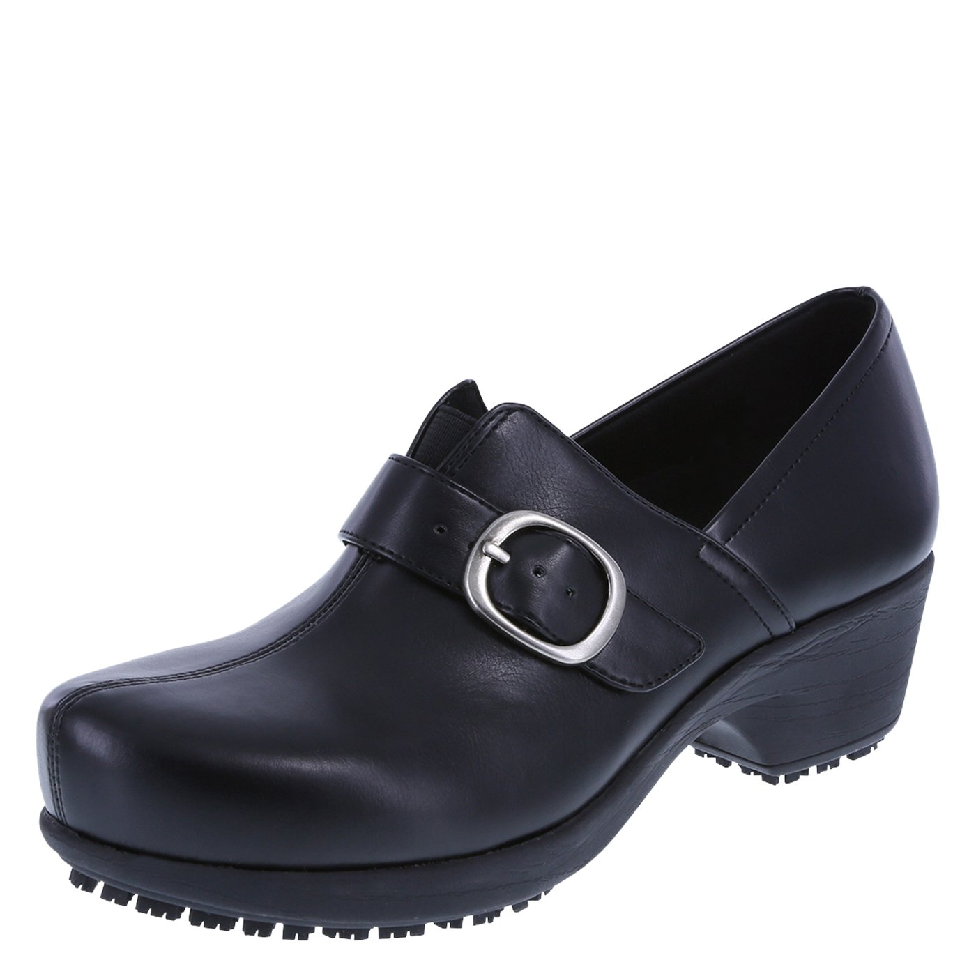 safeTstep Black Women's Slip Resistant Buckle Gretchen Clog 8 Wide