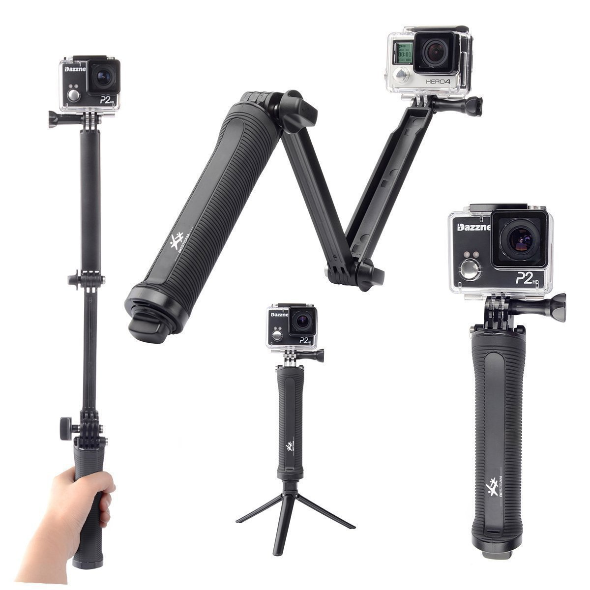 BESTEAM 3-way Grip Arm Tripod Handle Bracket Stabilizer for GoPro Hero 4 3+ 3