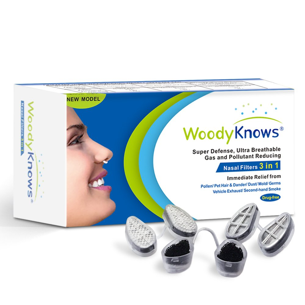 WoodyKnows 3 in 1 Nasal Filters for Allergy Relief, Combine Ultra Breathable, Super Defense and Gas & Pollutant Reducing Nasal Screen(3 Frames and 6 Pairs of Filters) (II-S, Slotted Nostrils)