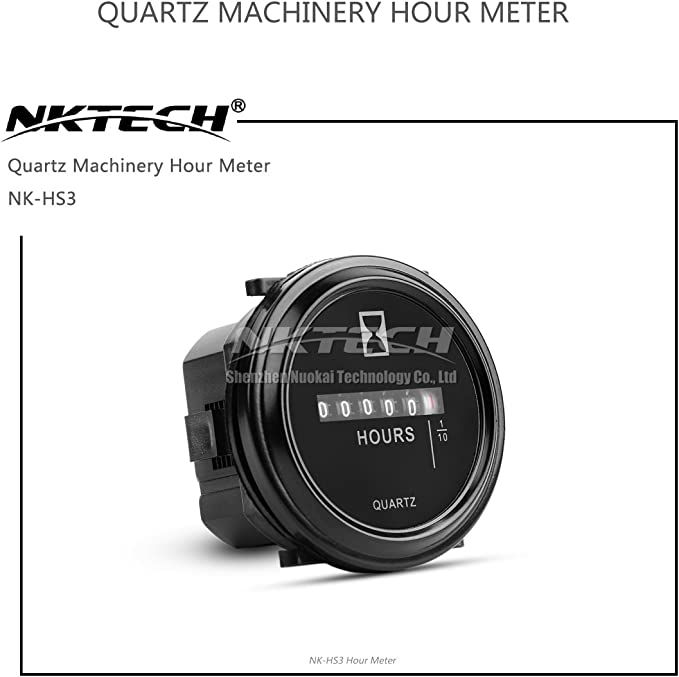 Nktech Cuarzo Contador horas Redondo calibre NK-HS3 de 6 dígitos DC//AC Contador de Horas Metros