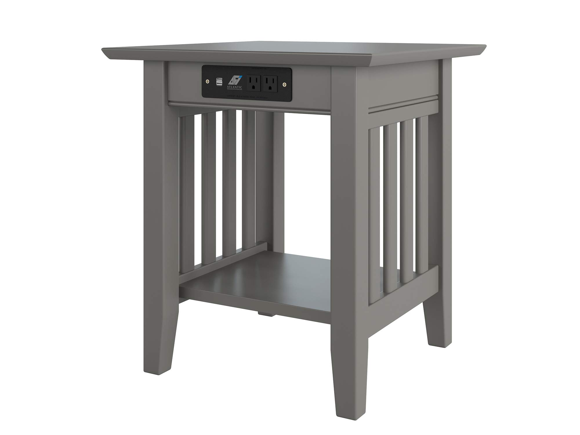 Atlantic Furniture AH14219 Mission End Table with Charging Station, Grey by Atlantic Furniture