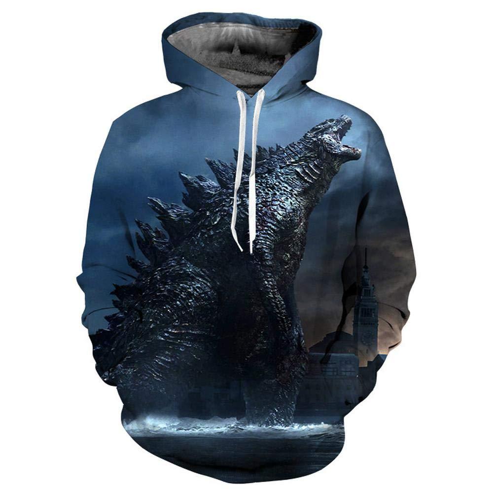 KIDSHOODIE Maglione per Bambini Godzilla Felpe con Cappuccio per Bambini Stampa 3D Teen Girl Boy Cartoon Pullover con Cappuccio Blue-90cm