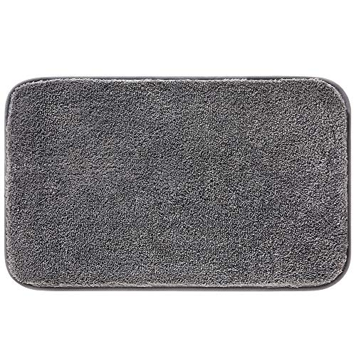Bathroom Rugs, Chenille Microfiber Bath Mats Extra Soft Absorbent Machine Washable Mat with Non Slip Backing, Grey