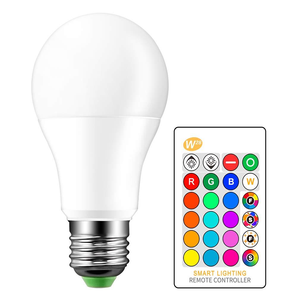 ONEVER 10W RGBW LED que cambia de color E27 atm¡ § sfera de iluminaci¡ § n LED RGB Fade Mode l¡ § ?mpara estrobosc¡ § pica flash Bar KTV luces decorativas + Cool White (1PCS) (1pcs)