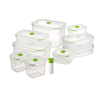 Lasting Freshness Vacuum Seal Food Storage Containers - Deep Freezer Food Sealer - Hand Held Vacuum Food System - Quick Seal Marinator - Rectangle - 19Pc - Green Color