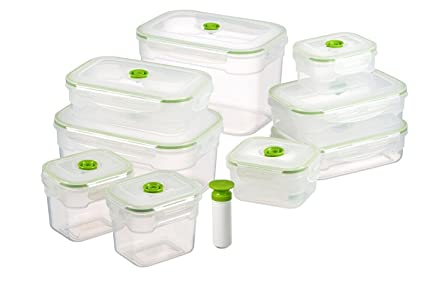 Lasting Freshness 19 pc Rectangular Vacuum Seal Food Storage Container Set (in Green)  sc 1 st  Amazon.com & Amazon.com: Lasting Freshness 19 pc Rectangular Vacuum Seal Food ...