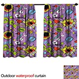 BlountDecor Superheroupf Outdoor Curtain W63 x L63(160cm x 160cm) Comic Bubble Words Burst Ouch BAMM Bang Boom Expression Kids Funny Retro GraphicAnti-waterMulticolor