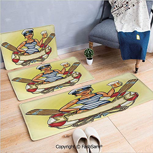 FashSam 3 Piece Non Slip Flannel Door Mat Pin Up Sexy Sailor Girl Lifebuoy with Captain Hat and Costume Glass of Beer Feminine Indoor Carpet for Bath Kitchen(W15.7xL23.6 by W19.6xL31.5 by W17.7xL53) ()