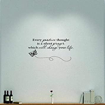 Design With Vinyl Moti 1786 3 Every Positive Thought Is A Silent Prayer Which Will Change Your Life Inspirational Quote Peel Stick Wall Sticker Decal 20 X 40 Black Amazon Com
