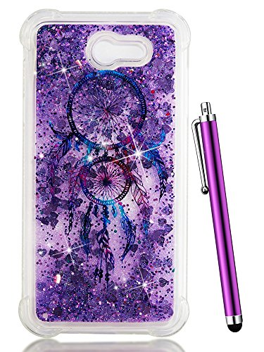 (Galaxy J7 Perx Case Glitter,J7 Prime Case 2017,CAIYUNL Clear Bling Cute Liquid Silicone Slim TPU Shockproof Cover Protective Phone Bumper for Samsung Galaxy J7 Sky Pro/J7 V&Stylus-Purple Aeolian Bells)