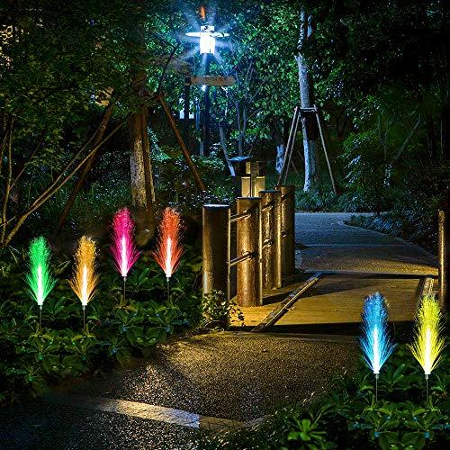 Neporal Garden-Solar-Lights-Outdoor-Decorative, 2 Pack Solar Flower Lights Outdoor Waterproof, Garden Lights Solar Powered, Multi-Color Changing Fiber Optic Solar Stake Lights for Yard Garden Pathway