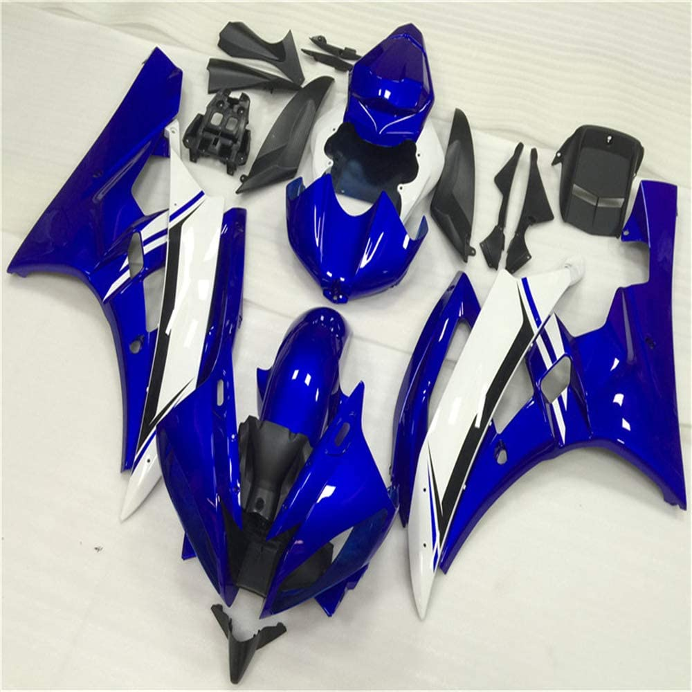 NT FAIRING Glossy Blue White Injection Mold Fairing Fit for Yamaha YZF 2003-2005 R6 /& 2006-2009 R6S New Painted Kit ABS Plastic Motorcycle Bodywork Aftermarket