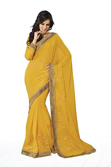ced1a3a02 Subhash Sarees Yellow Chiffon Embroidery Heropanti Saree: Amazon.in:  Clothing & Accessories