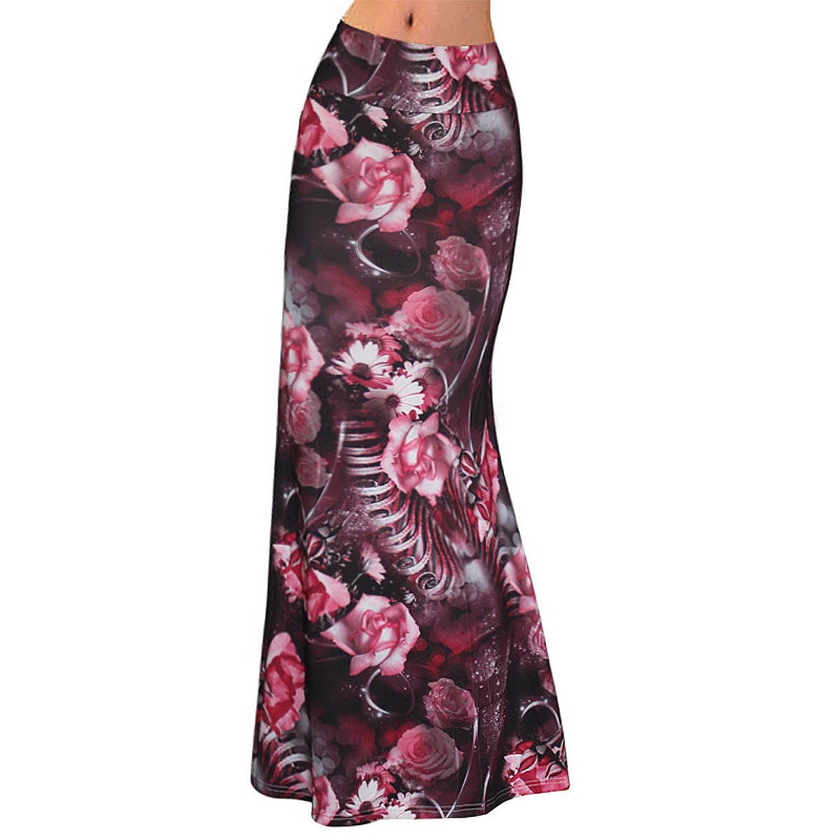 Sherry Skirt Womens High Waist Long Dress Multicolored Fitted Stretch Printed Maxi Skirt (Dark Red Floral,XL)