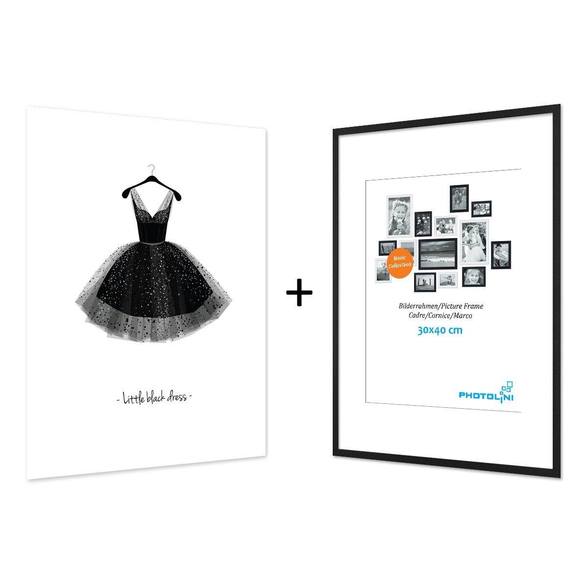 Cornici Disegno Bianco E Nero.Photolini Poster Di Design Ballerina Con Cornice Nera Da