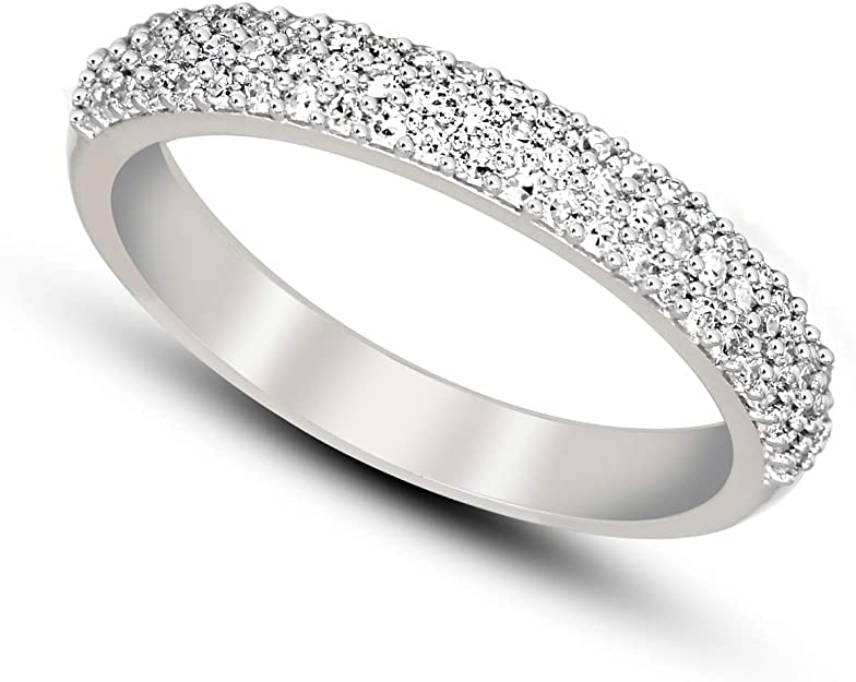 Size-8.25 Diamond Wedding Band in Sterling Silver G-H,I2-I3 1//20 cttw,