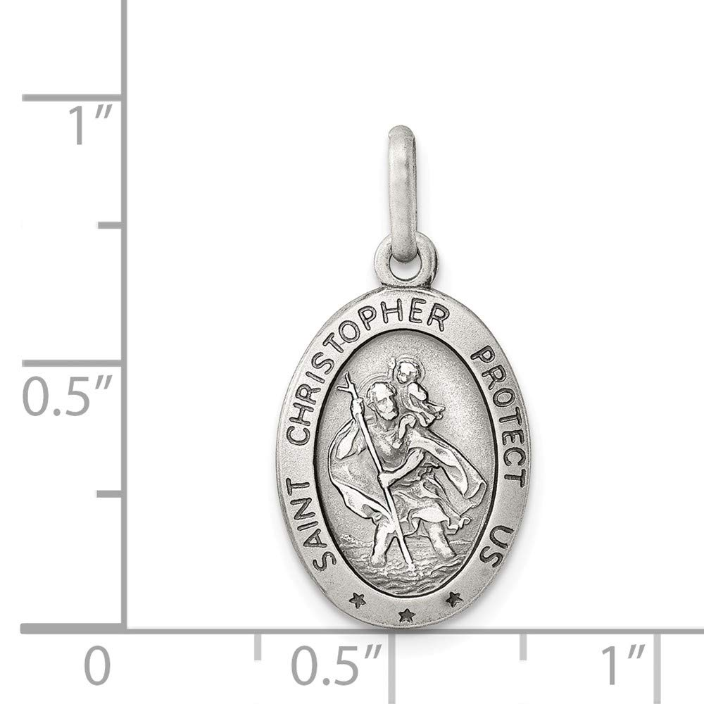 Mia Diamonds 925 Sterling Silver Solid St Christopher Medal 25mm x 12mm