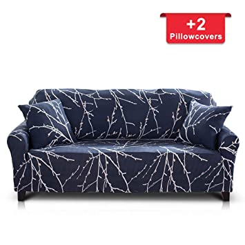 Hipinger Spandex Fabric Stretch Couch Cover Sofa Slipcover Stylish  Furniture Protector for 2 Cushion Couch Lovesaet (Loveseat/ 2 Seater, Tree  Branch)