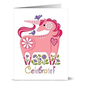 Amazon 24 Happy Birthday Note Cards Celebrate Unicorn Blank