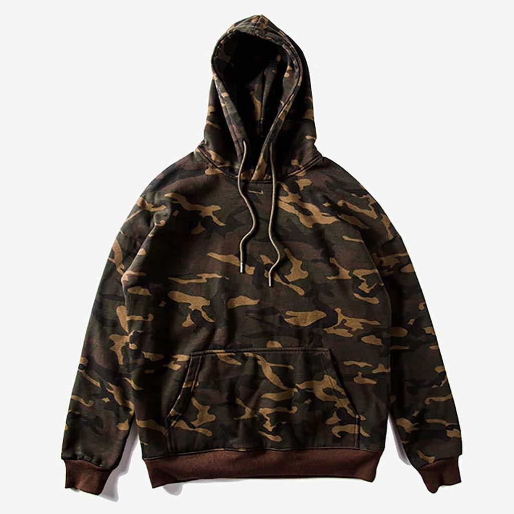 WENJUN Herren Camouflage Pullover Militär Kaffee Gepolsterte Schulter Lose Männer Mit Kapuze (Farbe : Tarnfarbe, größe : XL)
