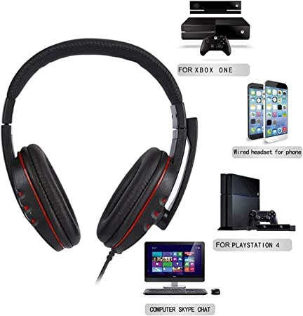 RONSHIN Electronics Accesories Cuffie stereo cablate con microfono per PS4//PC 890