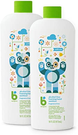 Foaming Hand Sanitizer Refill, Alcohol Free, Unscented, Kills 99.9% of Germs, 16oz- Babyganics Pack of 2