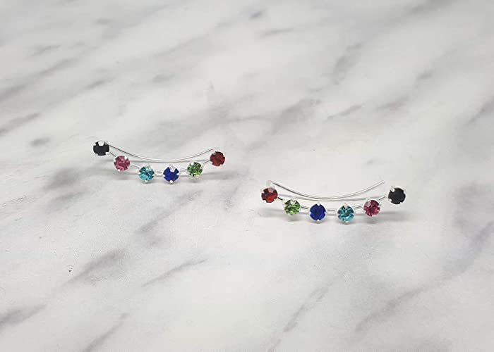 comprar lo mejor diseño elegante último descuento Pendientes trepadores plata de ley circonitas multicolor ...
