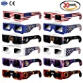 Solar Eclipse Glasses (30 Pack 6 Style) Paper / Mylar Safety Viewing Goggles for Kids & Adult - CE and ISO Certified -Glasses to View Solor Eclipse - Safe Solar Direct Viewing Eye Protection