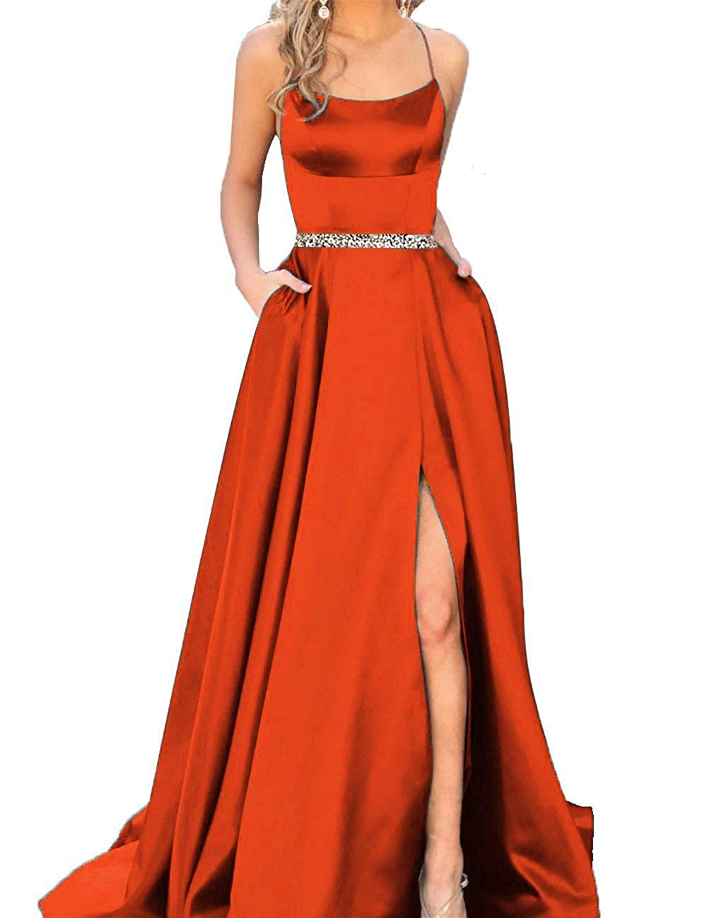 Fire orange With Beaded Fanciest Women's Halter Slit Satin Prom Dresses Long Backless Evening Formal Gowns