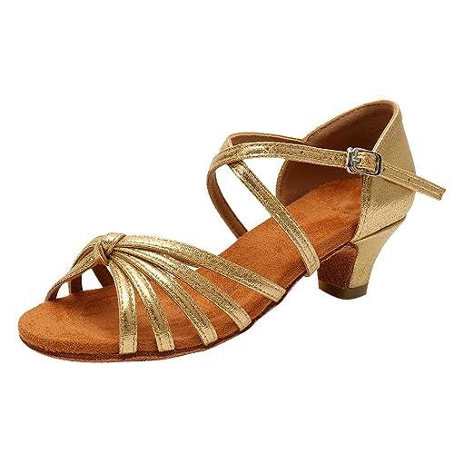 d0647d978 Mitlfuny Zapatos de Tango Latino para Niños Vestir Fiesta Arco Princesa  Sandalias de Punta Descubierta Cuero