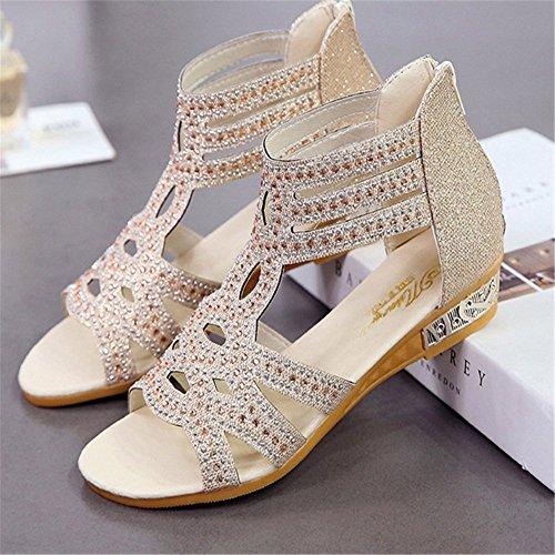 De Los Las Tacones Mujeres Las con De Cuñas Sandalias De Bohemia Altos De Imitación Verano Zapatos Oro De Diamantes De qx6FEfxwpn