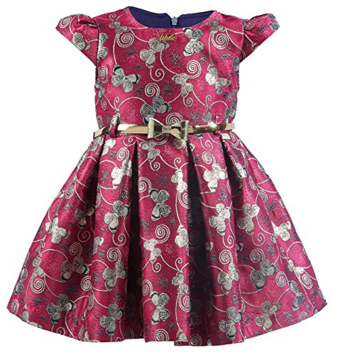 Lilax Little Girls' Shimmer Butterfly Occasion Dress with belt (8, Fuchsia)