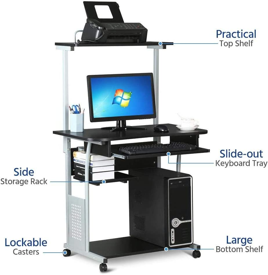 - Amazon.com: Yaheetech 2 Tier Rolling Home Office Computer Desk